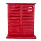 Zigzag Home Kırmızı Ahşap Panjur Ayna 56x12x63 Cm