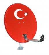 80cm Türk Bayraklı Çanak Anten + Çiftli Lnb + 20mt Kablo