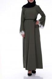 Kolları Güpür Elbise 1205 Haki