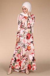 çiçekli Elbise 4231 Bej