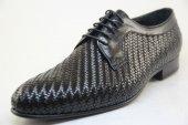 8610 Siyah Bufalo Derisinden Saç Örgü Klasik Kösele Ayakkabı