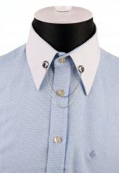 Gümüş Renk Taşlı Zincirli Gömlek Yaka İğnesi Gı141