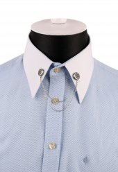 Gümüş Renk Zincirli Gömlek Yaka İğnesi Gı151