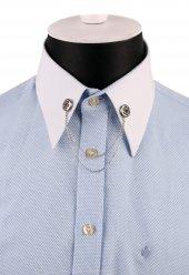 Gümüş Renk Taşlı Zincirli Gömlek Yaka İğnesi Gı145