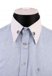Gümüş Renk Taşlı Zincirli Gömlek Yaka İğnesi Gı150