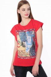 Baskılı Bayan T Shirt Kırmızı 0246