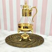 Mumlu Alttan Isıtmalı Föndü Altın Cam Demlik Çaydanlık