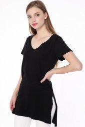 V Yaka Yan Yırtmaç Bayan T Shirt Siyah 1426