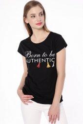 Baskılı Bayan T Shirt Siyah 0291