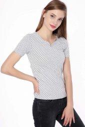 Puantiyeli Bayan T Shirt Gri 0294