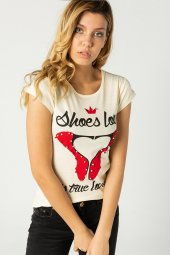 Baskılı Bayan T Shirt Sarı 0279