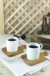 2li Bambu Kahve Fincan Takımı Model 6