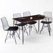 Evform Zenit 4 Kişilik Mermer Desen Masa Sandalye Takımı