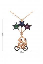 Cigold Yıldızlı Bisiklet Gümüş Kolye Kg018