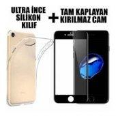 Apple İphone 6 3d Komple Kavisli Kırılmaz Full Cam Ekran Koruyucu+silikon Kılıf