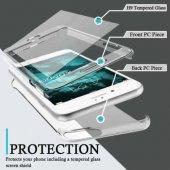 ıphone 8 Plus 360 Derece Koruyucu Şeffaf Kapak + Tamper Ekran Cam Filmi