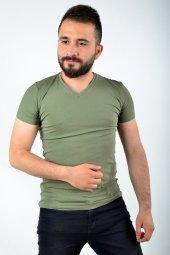 V Yaka Haki Tshirt