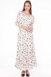 Omuz Lastik Çiçekli Uzun Elbise Beyaz 636