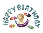 Mavi Happy Birthday Bebek Folyo Balon Seti
