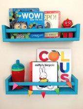 Ceebebek Ahşap Duvar Raf Bebek Çocuk Odası Montessori Mavi Kitaplık 2mavı40 Ücretsiz Kargo