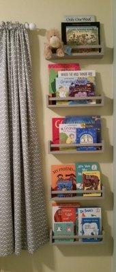 Ceebebek Ahşap Duvar Raf Bebek Çocuk Odası Montessori Gri Kitaplık 5grı40 Ücretsiz Kargo