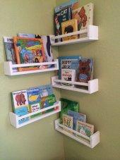 Ceebebek Ahşap Duvar Raf Bebek Çocuk Odası Montessori Beyaz Kitaplık 5byz40 Ücretsiz Kargo
