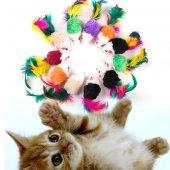 Tüylü Kedi Oyuncağı Renkli Tüy Kuyruklu Fare Tekli 11*2.5 Cm