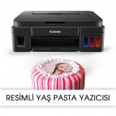 Resimli Pasta Yazıcısı Canon Pıxma G2411 Gıda Mürekkepli Bitmey