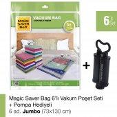 Magıc Saver Bag 6lı Set Jumbo Vakumlu Poşet Pompa Hediyeli
