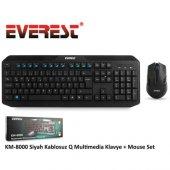 Everest Km 8000 Kablosuz Klavye Set Siyah