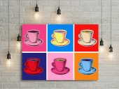 Renkli Fincanlar Pop Art Kanvas Tablo