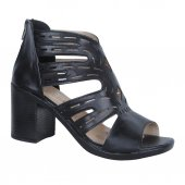 Byn Ayışığı 7cm Topuk Siyah Yazlık Bayan Sandalet Ayakkabı