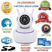 3 Antenli 960p Hd 360 � Wifi Bebek Bakıcı Güvenlik Kamerası