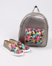 Gri Renkli Üçgen Desenli İkili Bayan Ayakkabı Çanta Kombin