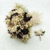 Bordo Gelin Buketi Gelin Çiçeği Damat Yaka Çiçeği Hediyeli