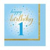 20 Adet Kikajoy Küçük Yıldızlar 1 Yaş Mavi Peçete...