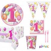 1 Yaş Pembe 16 Kişilik Doğum Günü Seti