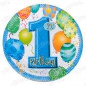 16 Adet Kikajoy Balonlar 1 Yaş Mavi Karton Tabak