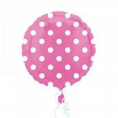 2 Adet Pembe Üzeri Beyaz Puanlı Folyo Balon 2li