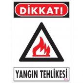 Sönsan Uyarı Levhaları Dikkat Yangın Tehlikesi Pvc 25*35