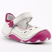 Teo Bebe 4100 100 Beyaz Deri Ortopedik İlk Adım Kız Çocuk Ayakkabı