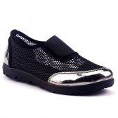 Caprito Y 101 Siyah Günlük File Ayna Platin Yürüyüş Bayan Ayakkabı