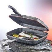 Oms 32x26x7.5cm Granit Çift Taraflı Izgara Balık Tavası Orta Boy