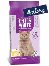 Cats White Lavanta Kokulu Topaklaşan Doğal Bentonit Kedi Kumu 6 Lt 5 Kg (4 Adet)