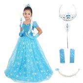 Elsa Kostümü Frozen Kostüm Abiye Kısa Kol Tüylü Tarlatanlı