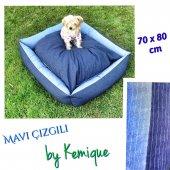 Mavi Çizgili Köpek Yatağı Xl Köpek Minderi 80 X 110 Cm