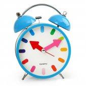Mavi Renkli Metal Işıklı Zilli Alarmlı Çalar Masa Saati Stm164