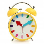 Sarı Renkli Metal Işıklı Zilli Alarmlı Çalar Masa Saati Stm166