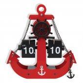 Denizci Çapa Çarklı Flip Yapraklı Çevirmeli Metal Masa Saati
