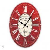 Dekoratif Country Mdf Kırmızı Roma Rakamlı Duvar Saati Stm146